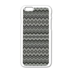 Greyscale Zig Zag Apple Iphone 6/6s White Enamel Case