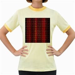 Colorful And Glowing Pixelated Pixel Pattern Women s Fitted Ringer T Shirts