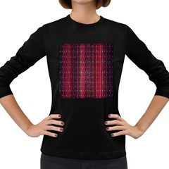 Colorful And Glowing Pixelated Pixel Pattern Women s Long Sleeve Dark T Shirts