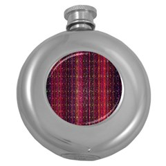 Colorful And Glowing Pixelated Pixel Pattern Round Hip Flask (5 oz)