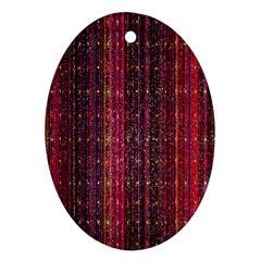 Colorful And Glowing Pixelated Pixel Pattern Oval Ornament (two Sides)
