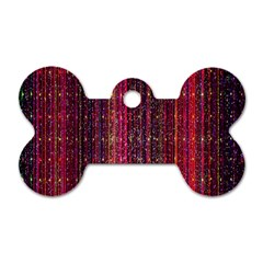 Colorful And Glowing Pixelated Pixel Pattern Dog Tag Bone (two Sides)