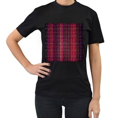 Colorful And Glowing Pixelated Pixel Pattern Women s T-Shirt (Black)