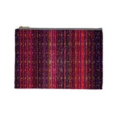 Colorful And Glowing Pixelated Pixel Pattern Cosmetic Bag (Large)