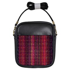 Colorful And Glowing Pixelated Pixel Pattern Girls Sling Bags