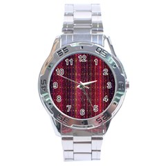 Colorful And Glowing Pixelated Pixel Pattern Stainless Steel Analogue Watch