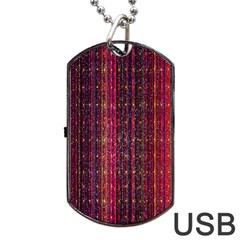 Colorful And Glowing Pixelated Pixel Pattern Dog Tag Usb Flash (one Side)