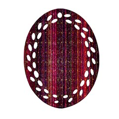 Colorful And Glowing Pixelated Pixel Pattern Oval Filigree Ornament (two Sides)