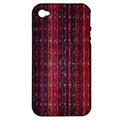 Colorful And Glowing Pixelated Pixel Pattern Apple Iphone 4/4s Hardshell Case (pc+silicone)