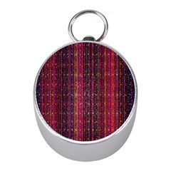 Colorful And Glowing Pixelated Pixel Pattern Mini Silver Compasses