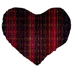 Colorful And Glowing Pixelated Pixel Pattern Large 19  Premium Flano Heart Shape Cushions
