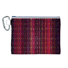 Colorful And Glowing Pixelated Pixel Pattern Canvas Cosmetic Bag (l)