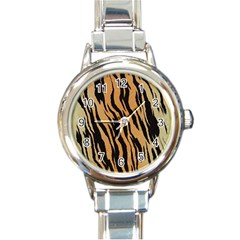 Tiger Animal Print A Completely Seamless Tile Able Background Design Pattern Round Italian Charm Watch