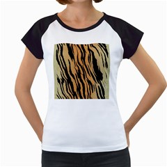 Tiger Animal Print A Completely Seamless Tile Able Background Design Pattern Women s Cap Sleeve T