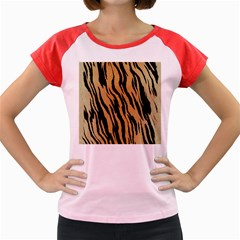 Tiger Animal Print A Completely Seamless Tile Able Background Design Pattern Women s Cap Sleeve T Shirt