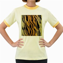 Tiger Animal Print A Completely Seamless Tile Able Background Design Pattern Women s Fitted Ringer T Shirts