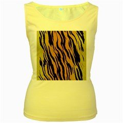 Tiger Animal Print A Completely Seamless Tile Able Background Design Pattern Women s Yellow Tank Top