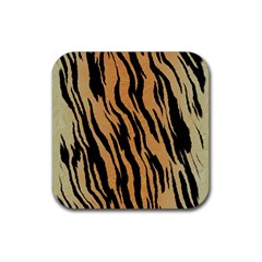 Tiger Animal Print A Completely Seamless Tile Able Background Design Pattern Rubber Square Coaster (4 Pack)