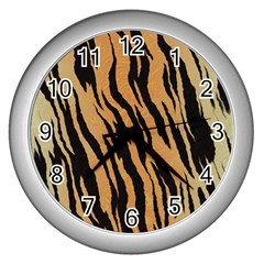 Tiger Animal Print A Completely Seamless Tile Able Background Design Pattern Wall Clocks (silver)