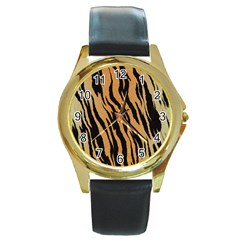 Tiger Animal Print A Completely Seamless Tile Able Background Design Pattern Round Gold Metal Watch