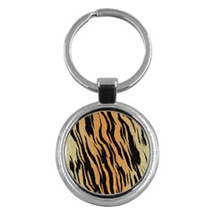 Tiger Animal Print A Completely Seamless Tile Able Background Design Pattern Key Chains (round)