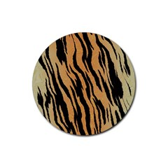 Tiger Animal Print A Completely Seamless Tile Able Background Design Pattern Rubber Coaster (round)