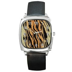 Tiger Animal Print A Completely Seamless Tile Able Background Design Pattern Square Metal Watch