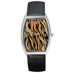 Tiger Animal Print A Completely Seamless Tile Able Background Design Pattern Barrel Style Metal Watch