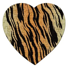 Tiger Animal Print A Completely Seamless Tile Able Background Design Pattern Jigsaw Puzzle (heart)