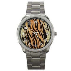 Tiger Animal Print A Completely Seamless Tile Able Background Design Pattern Sport Metal Watch