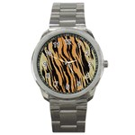 Tiger Animal Print A Completely Seamless Tile Able Background Design Pattern Sport Metal Watch Front