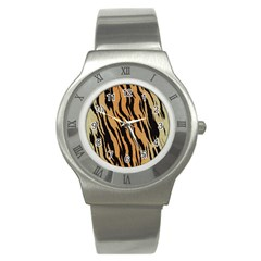 Tiger Animal Print A Completely Seamless Tile Able Background Design Pattern Stainless Steel Watch