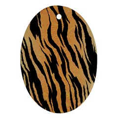 Tiger Animal Print A Completely Seamless Tile Able Background Design Pattern Oval Ornament (two Sides)
