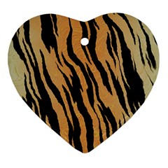 Tiger Animal Print A Completely Seamless Tile Able Background Design Pattern Heart Ornament (two Sides)