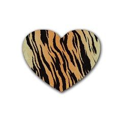 Tiger Animal Print A Completely Seamless Tile Able Background Design Pattern Heart Coaster (4 Pack)