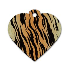 Tiger Animal Print A Completely Seamless Tile Able Background Design Pattern Dog Tag Heart (two Sides)