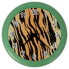 Tiger Animal Print A Completely Seamless Tile Able Background Design Pattern Color Wall Clocks