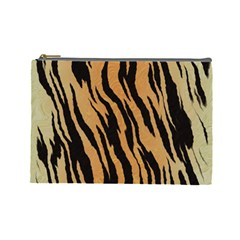 Tiger Animal Print A Completely Seamless Tile Able Background Design Pattern Cosmetic Bag (large)