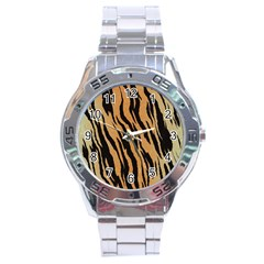 Tiger Animal Print A Completely Seamless Tile Able Background Design Pattern Stainless Steel Analogue Watch