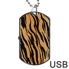 Tiger Animal Print A Completely Seamless Tile Able Background Design Pattern Dog Tag Usb Flash (two Sides)