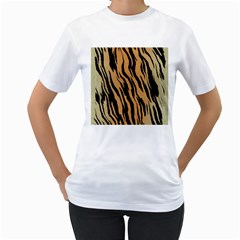 Tiger Animal Print A Completely Seamless Tile Able Background Design Pattern Women s T Shirt (white)