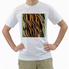 Tiger Animal Print A Completely Seamless Tile Able Background Design Pattern Men s T Shirt (white)