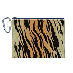 Tiger Animal Print A Completely Seamless Tile Able Background Design Pattern Canvas Cosmetic Bag (l)