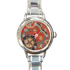 Vintage Chinese Brocade Round Italian Charm Watch