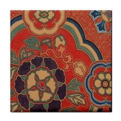 Vintage Chinese Brocade Tile Coasters