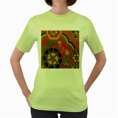 Vintage Chinese Brocade Women s Green T-Shirt