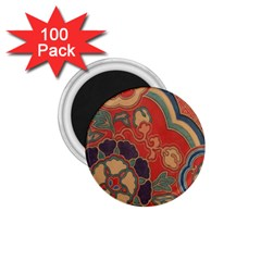 Vintage Chinese Brocade 1 75  Magnets (100 Pack)