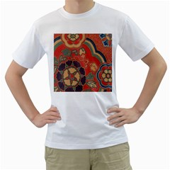 Vintage Chinese Brocade Men s T Shirt (white) (two Sided)