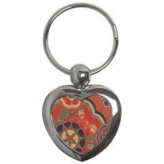 Vintage Chinese Brocade Key Chains (heart)