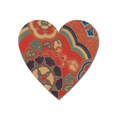 Vintage Chinese Brocade Heart Magnet